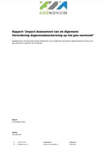 Impact Assessment van de Algemene Verordening Gegevensbescherming op het geo-werkveld